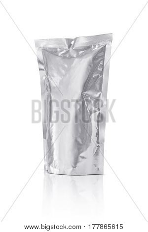 blank packaging aluminum foil pouch isolated on white background with clipping path ready for product design