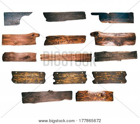 Collection of old wood signboards and pointers isolated over white background