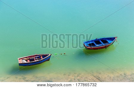 Fishing boat on the bank of Oum Er-Rbia River in Azemmour, Morocco