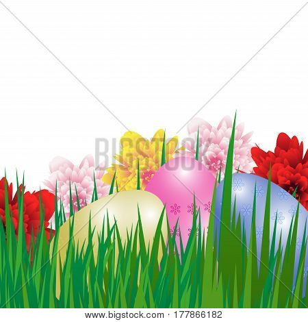 Easter background with colorful eggs grass and flowers. Greetings card. Vector illustration.