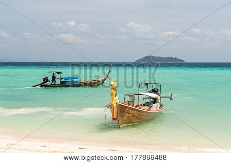 PHI PHI ISLANDS, THAILAND - FEBRUARY 22: Laem Tong Beach at Phi Phi Islands. Phi Phi Islands are a popular tour destination from Phuket and Krabi.