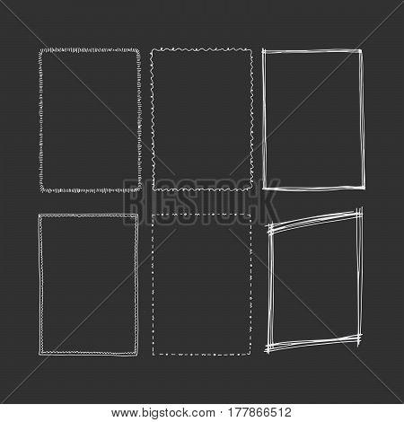 Hand drawn rectangular frames. Square vector illustration.