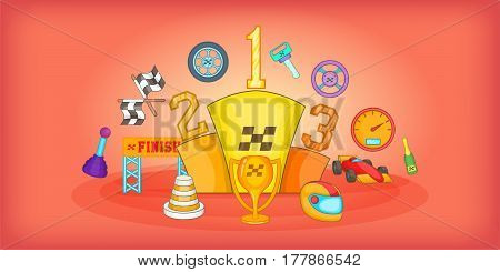 Sport race signs horizontal banner concept. Cartoon illustration of sport race signs vector horizontal banner for web