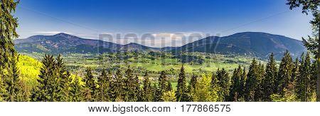 View to a autumn landscape Beskydy mountains / Czech Republic