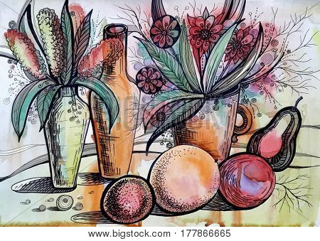 beautiful watercolor painting with flowers and fruits