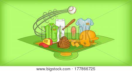 Baseball horizontal banner concept. Cartoon illustration of baseball vector horizontal banner for web