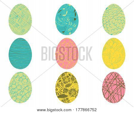 Vector Easter eggs with floral and geometric elements