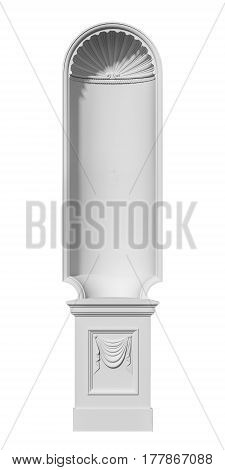 niche in the classical style on a white background. 3d rendering