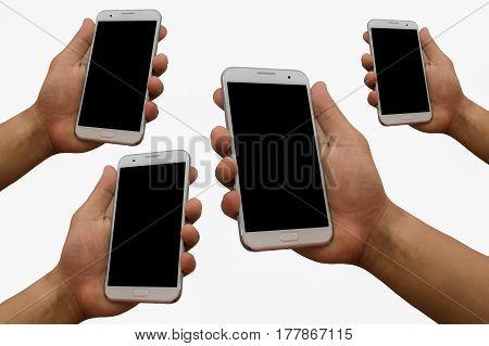 Hand holding mobile smartphone blank black screen