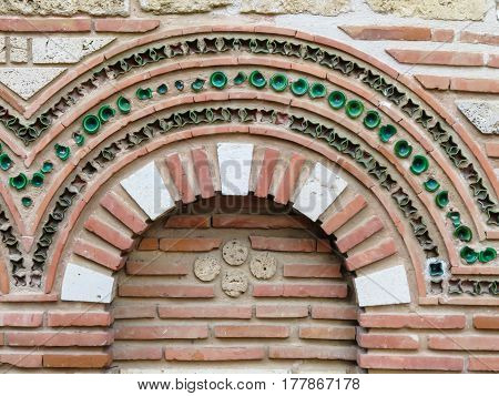 Details of exterior finish of the Ancient Church. Old Nessebar, Bulgaria