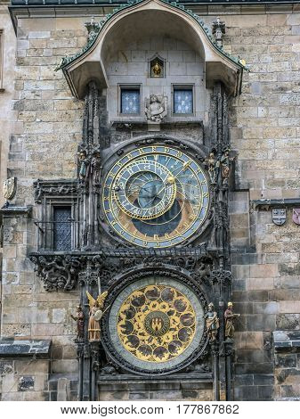Astronomical clock on Old Town City Hall, Prague, Czech Republic