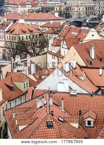 Roofs of townhouses in the Lesser Town district in Prague, Czech Republic