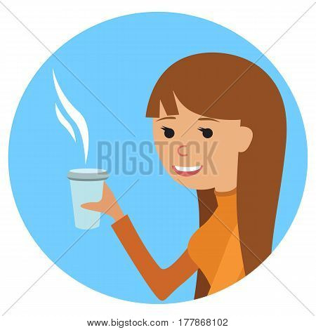 Woman with cup in her hand drinking hot coffee. Vector illustration icon isolated on white background.