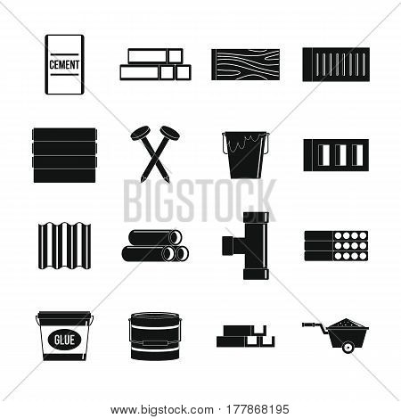 Building materials icons set. Simple illustration of 16 building materials vector icons for web