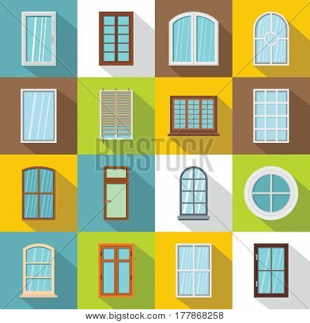 Plastic window forms icons set. Flat illustration of 16 plastic window forms vector icons for web