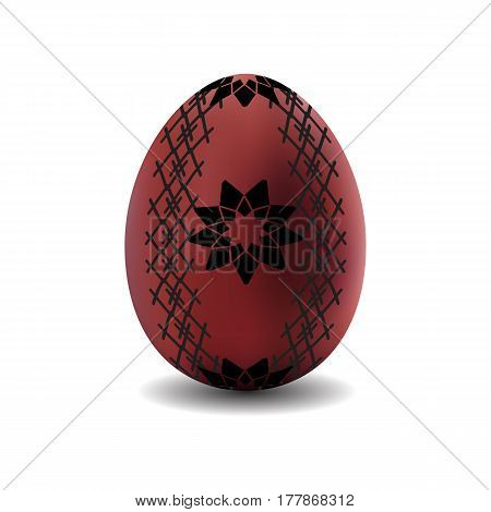 3d isolated vector realistic brown easter egg with pattern on white background