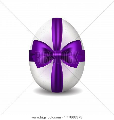3d isolated vector image of white easter egg. Easter egg decorated with fiolet ribbon with bow