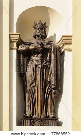 Sculpture of St. Prince Vladimir at the entrance of the Cathedral of the Holy Resurrection of Christ in Ivano-Frankivsk Ukraine