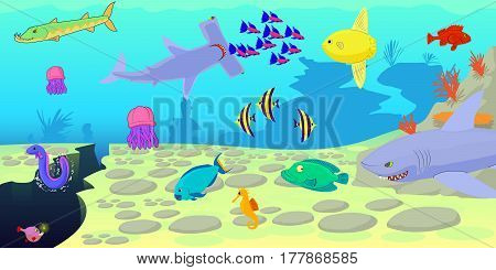 Ocean fish scene horizontal banner concept. Cartoon illustration of ocean fish scene vector horizontal banner for web
