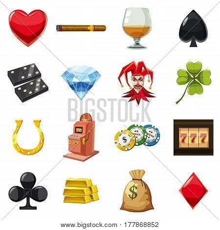 Casino icons set items symbols. Cartoon illustration of 16 casino vector icons for web