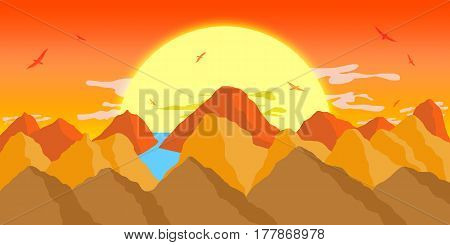 An Illustration of Canyons in front of a peaceful Sunset.
