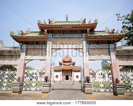 Entrance of Chinese temple in front of the main building