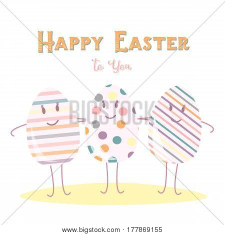 Happy Easter eggs Friend on white background. Funny greeting card design.