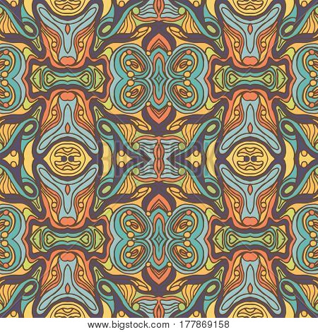 Colorful Doodle Abstract Seamless Pattern.