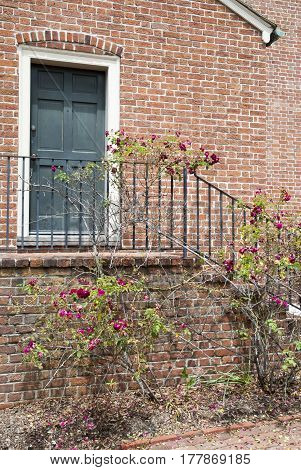 Flowers by the entrance to the historic house in Norfolk old town (West Virginia).