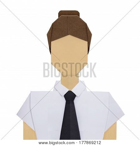 Origami paper teacher woman consultant in white shirt with black tie on a white background