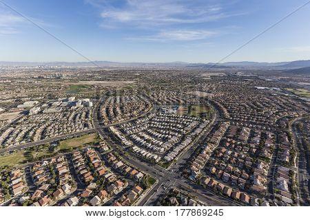Aerial view of neighborhoods in the Summerlin community of Las Vegas, Nevada.