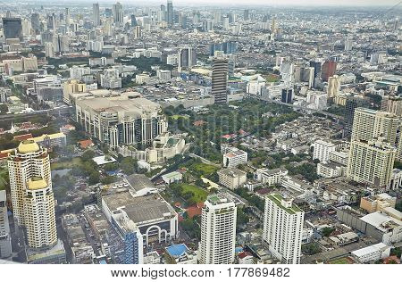 Top view city skyscrapers street, Bangkok , Thailand