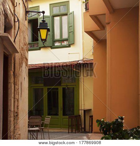 Narrow streets of Rethymno Crete Greece Old City.