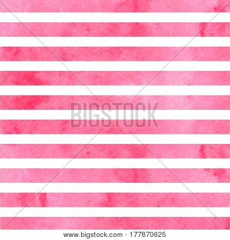 Pink horizontal watercolor stripes on white background. Vector illustration