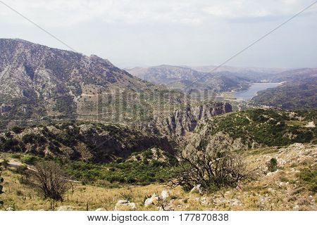 Mountains landscape on the island of Crete Greece