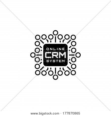 Online CRM System Icon. Business and Finance. Isolated Illustration