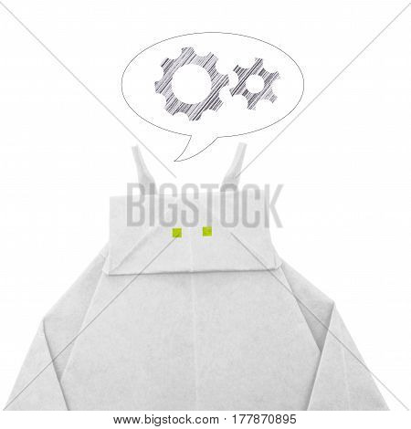 Paper origami white robot chatbot chat bot or chatterbot is thinking on a white background