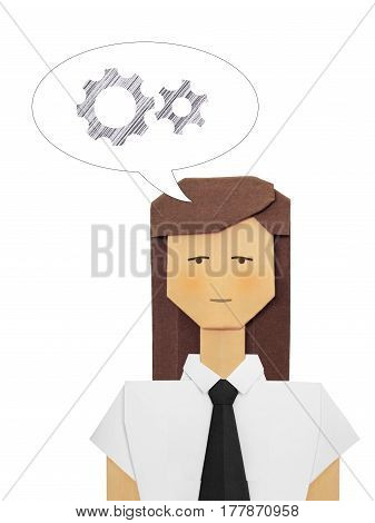 Origami paper businesswoman woman consultant in white shirt with black tie on a white background
