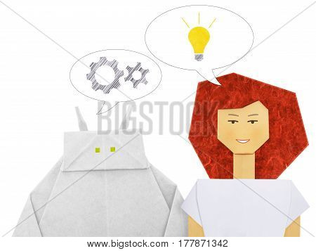 Paper origami white robot chatbot chat bot or chatterbot dialog with woman on a white background. Mecanica and idea inspiration concept