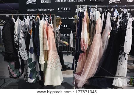 Kyiv, Ukraine - February 4, 2017: Dresses On Rack. Backstage Of Ukrainian Fashion Week 2017