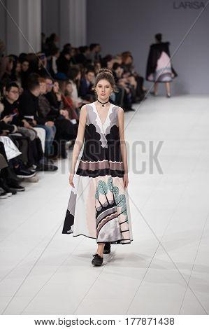 Kyiv, Ukraine - February 4, 2017: Models Walk The Runway During Fashion Show By Larisa Lobanova Autu