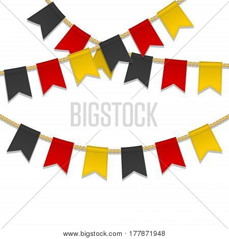 Germany Independence Day background. Bunting decoration in colors of German flag. Garlands pennants on a rope for party carnival festival celebration. Greeting card flyer poster for 3th October.