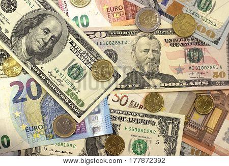 Money background american dollars and euro different denominations