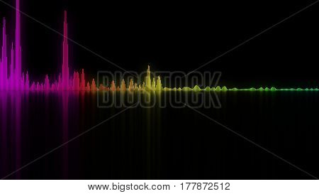 Colorful sound waves. Good background for audio concepts. 3D rendering