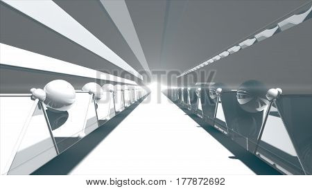 3d rendering Futuristic road tunnel. Technology background with light at the end. 8K Ultra HD Resolution