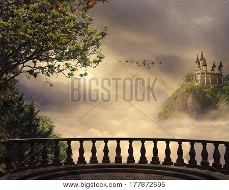 View from a balcony of a castle at the top of the mountain in a beautiful day. 3D rendering
