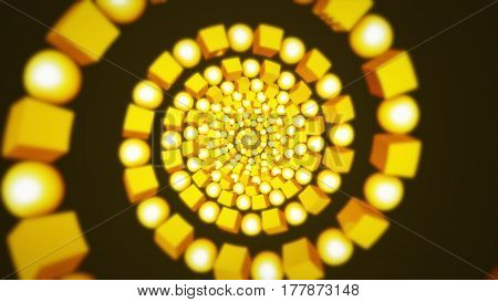 Abstract background with cubes and sphere rotating. Technology concept backdrop. 3D rendering