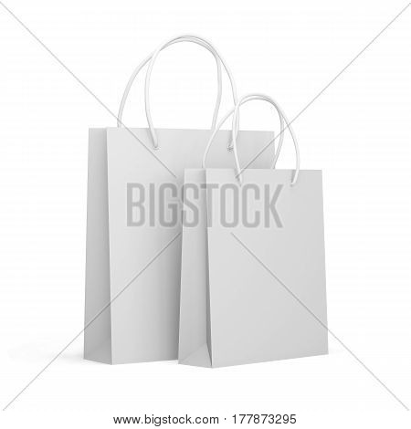 Paper packages isolated on a white background, shopping bags. Mock up. 3d render
