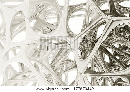 3d illustration of white chrome chromium abstract bionic structure on black background