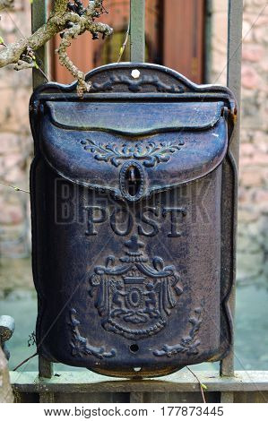 Mailbox. Old post box of a rustic house.